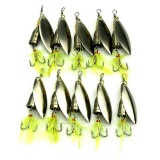 Jual 10Pcs Set Spinner Fishing Baits Metal Artificial Lures Fishing Yellow Feather Intl Satu Set