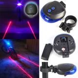 Spesifikasi 2 Laser 5 Led Belakang Sepeda Ekor Biru Muda Lampu Peringatan 7 Mode Paling Bagus