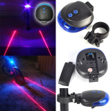 Diskon Produk 2 Laser 5 Led Rear Bike Light Safety Warning Lamp 7 Modes Flashing Lamp