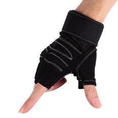Harga 2 Buah Angkat Berat Gym Pelatihan Kebugaran Sarung Tangan Latihan Latihan Olahraga Pergelangan Tangan Tali Pembungkus Hitam X Intl Satu Set