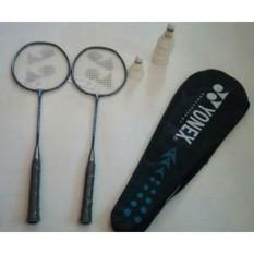 2 raket badminton yonex + tas yonex + 2 grip handuk +5 kok