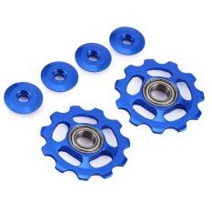 Diskon 2 X Roda T Aluminium Sealed Bearing Jockey Wheel Rear Derailleur Pulleys Biru Intl Not Specified