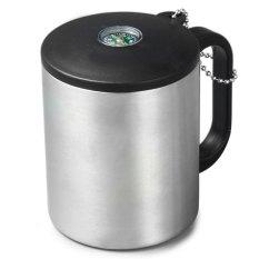 Jual 200 Ml Outdoor Camping Cup Double Stainless Mug Dengan Kompas Carabiner Hook Silver Timezone Branded