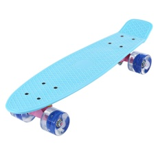 22 Inches Mini Cruiser Pisang Gaya Dek Pastel Warna Board dengan LED Berkedip Roda (Skateboard