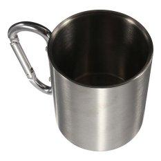 Harga 220 Ml Kolam Stainless Steel Travel Mug Kopi Cangkir Aluminium Berkemah Karabiner Kait Dinding Ganda Peralatan Berkemah Termahal