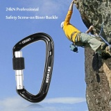 24Kn Professional Safety Scr*w On Biner Buckle Aluminum Alloy Carabiner For Outdoor Survival Mountaineering Rock Climbing Caving Rappelling Rescue Engineering Intl Asli