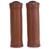 Beli 2Pcs Bike Soft Leather Handmade Handlebar Grip Bicycle Accessories Brown Yang Bagus