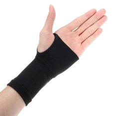 2X Telapak Sarung Tangan Pergelangan Tangan Elastis Dukungan Artritis Penjepit Olahraga Perban Gym Bungkus Hitam L-Intl