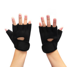 Promo 2X Weight Lifting Leather Padded Gloves Fitness Traning Body Buliding Gym Sports Black S Akhir Tahun