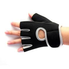 Diskon 2X Angkat Berat Kulit Padded Sarung Tangan Kebugaran Traning Tubuh Buliding Gym Olahraga Gray S