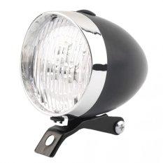 3 LED lampu depan sepeda lampu antik lampu senter (hitam) - International
