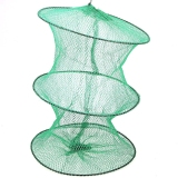 Review Pada 3 Sections Nylon Cylinder Detachable Fishing Net Pot For Trapping Crab Prawn Green