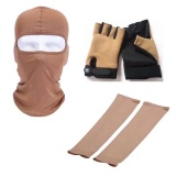 Promo 3 Sets With Face Mask Sleeve Glove Balaclava Full Face Mask Hat Arm Cool Sleeves Anti Slip Half Finger Gloves For Outdoor Sports Windproof Sun Uv Block Hunting Riding Cycling Bike Weight Lifting Boxing Woman Man Brown Intl Di Tiongkok