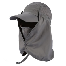 Harga 360° Outdoor Fishing Hiking Hunting Ear Flap Neck Cover Sun Uv Protection Adjustable Cap Dark Grey Intl Terbaru