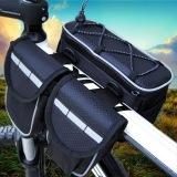 Penawaran Istimewa 4 In 1 Bersepeda Sepeda Sepeda Bingkai Keranjang Beban Depan Tabung Handlebar Saddle Kantong Casing Tas Telepon Hitam Terbaru