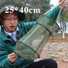 4 Ever Portabel Memancing Bersih 3 Layer Round Folding Perangkap Bingkai Logam Casting Udang Mesh Cage Fish Net (Warna: Hijau, Ukuran: 25x40 Cm)-Intl