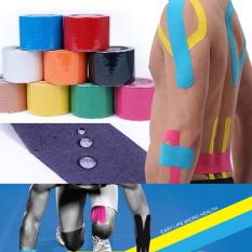 Promo 5 Cm X 5 M Pita Kinesiologi Olahraga Kinesio Gulungan Kapas Elastis Perban Perekat Ketegangan Otot Cedera Otot Dukungan Stiker Biru Di Tiongkok