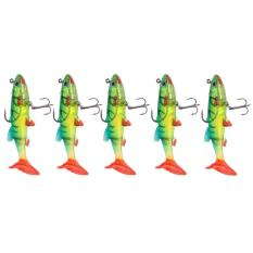 Review 5 Pcs Lot 3D Mata Lead Fishing Lures T Tail Soft Lure Treble Hook Baits 14G Intl