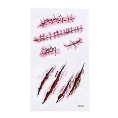 5X Halloween Stiker Lembaran Palsu Scab Darah Horor Makeup Cosplay Bekas Luka-Intl