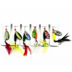 6 Pcs Pancing Umpan Set Sendok Logam Umpan Spinnerbait dengan Warna-warni Feather Treble Kait Pancing Umpan Colour: warna-warni Item Per Paket: 6 Pcs untuk Satu Set-Internasional