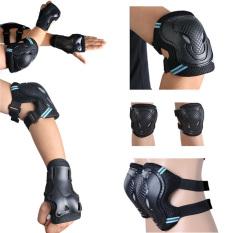 Promo 6 Buah Pelindung Siku Lutut Skuter Anak Orang Dewasa Skating Pergelangan Tangan Bantalan Pengaman Dipasang Roda Gigi Hitam Biru S Hong Kong Sar Tiongkok