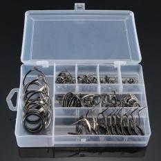 75 Pcs 8 Ukuran Vintage Oval Fishing Tips Rod Garis Panduan Perbaikan Mata Cincin-Intl