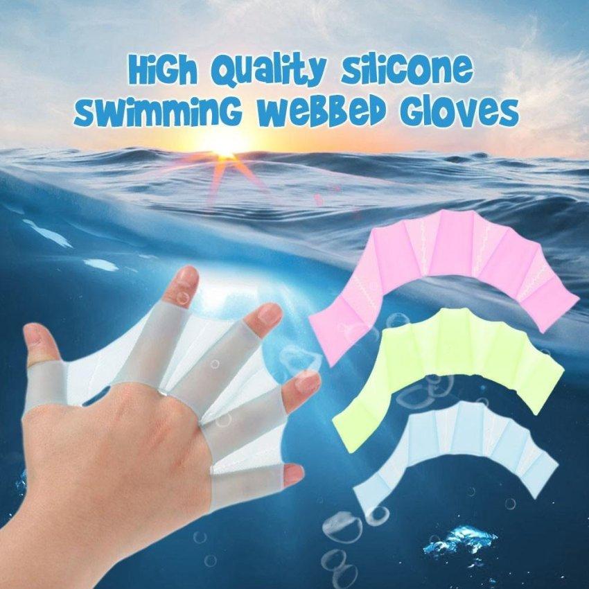 ... Sepasang Perlengkapan Renang Sirip Silikon Tangan Sirip Unisex Berselaput Sarung Tangan untuk Berenang Pelatihan S M L Ukuran