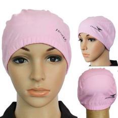 PU Lapisan Tahan Air Nilon Dewasa Topi Berenang Topi Renang Ringan Pink