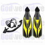 Alat Snorkeling Godive Paket Mask Snorkel Set M202 Fin Full Heel Fs 04 39 40 Original