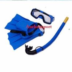 Anekaimportdotcom Alat Snorkling / Kacamata Snorkeling Set/ Renang / Googles Kaki Katak 7-14thn - Biru By Anekaimportdotcom.