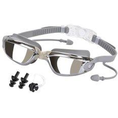 Anti-Kabut Kacamata Renang Tidak Bocor Electroplating Swimming Goggles Kacamata Dengan Kasus Pelindung Gratis Untuk Pria Dewasa Wanita Pemuda Anak-Anak Anak (dark Grey) -Intl By Taopanda.