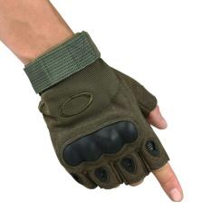 Antiskid Taktis Setengah Jari Sarung Tangan Memerangi Olahraga Latihan Kebugaran Sarung Tangan Tanpa Jari Warna: Hijau Tentara Ukuran: XL-Intl