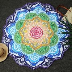 Belle Round Pantai Berpasir Handuk Yoga Pad Lotus Bunga Pola Pencetakan dengan Jumbai-Intl