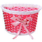 Kualitas Bike Flowery Front Basket Bicycle Cycle Shopping Stabilizers Children Kids Girls Red Oem