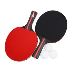Duoqiao Boliprince Ping Pong Paddle 2 Pemain Raket Tenis Meja W/3 Bola untuk Shake-tangan Grip Pemain-Intl(Multicolor)