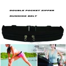 CantiQue Double Bag Sport Waterproof Sack Waist Sport Tas Pinggang Sabuk Tas Gesper Anti air Olahraga Running Waist Bag jogging Mobile Belt  - Hitam
