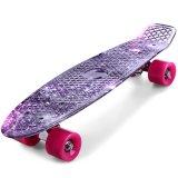 Cl 95 Printing Purple Starry Sky Pattern Skateboard Complete 22 Inch Retro Cruiser Longboard Not Specified Murah Di Indonesia