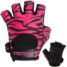 Contraband Merah Muda Label Contraband Merah Muda Label 5277 Wanita Desain Seri Zebra Cetak Lifting Sarung Tangan (Pasang) (Hitam/Merah Muda, Besar)-Internasional