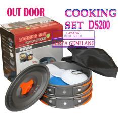 Cooking set DS-200 Alat Memasak Panci Set Camping Hiking Kemah Out Door
