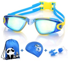 Keren!!! Baru 1 + 3 Paket Anak-anak Swimming Goggles Waterproof Anti-kabut Boy Girl's Big Kotak Kacamata Renang Bayi Equipment-Intl