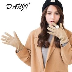 Harga Danji Musim Dingin Khusus Fashion Heavy Type Women Kulit Asli Wol Bulu Sarung Tangan Wanita Cantik Kulit Domba Kulit Bulu Sarung Tangan Brown Danji Ori
