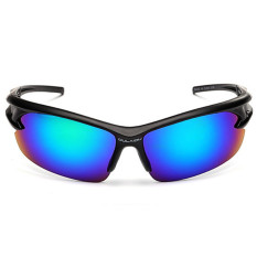 DAZZLE Warna Pria Wanita Bersepeda Kacamata UV400 Outdoor Sports Safety Pemantul Cahaya Windproof Ledakan-bukti Sunglasses Mountain Bike Sepeda Motor Sunglasses (Hitam & Green Mercury)