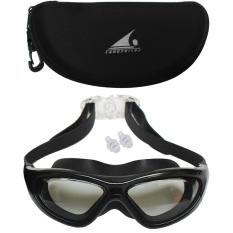 EELIC 980 Hitam Kacamata Renang Dewasa Anti Radiasi Matahari dan Tidak mudah berembun dengan ukuran agak lebar serta nyaman dan mudah di pakai