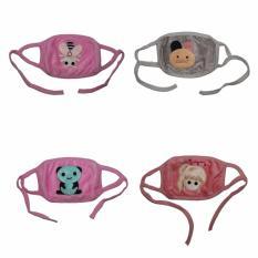 EELIC MAR-MASKER 4 Pcs Lebah, Kiko, Beruang, Girl Masker Penutup Mulut Lucu Berkarakter