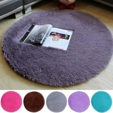 Elife 41*41cm Super Absorbent Pure Color Soft Round Fitness Yoga Mat Deck Chairs Pad Shaggy Non-slip Bathroom Floor Shower Carpet Rug (Gray Purple) - intl