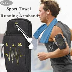 Review Esogoal Sports Armband Multifunctional Pockets Workout Running Armbag And Cooling Towel For Sports Fitness Gym Yoga Pilates Camping More