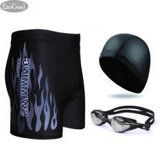 Esogoal Swim Swimming Goggles Short Swim Swimming Pants Swimsuit And Swimming Cap Swimming Accessory For Men And Women Black Diskon Akhir Tahun