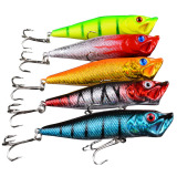 Spek Fancytoy 5 Pcs Plastik Popper Fishing Lures Bass Crankbait Top Air Rattles 9 Cm