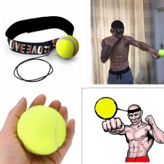 Beli Fight Elastic Ball With Head Band For Reaction Speed Training Boxing Punch Exercise Color Yellow Intl Tiongkok