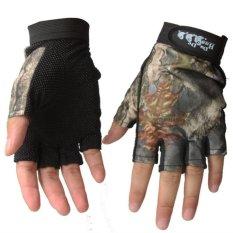 Jari Sarung Tangan Bernapas Anti Slip Sendok Memancing Sarung Tangan Outdoor Tahan Air Sun Perlindungan Sarung Tangan Warna: Kamuflase Ukuran: F-Intl